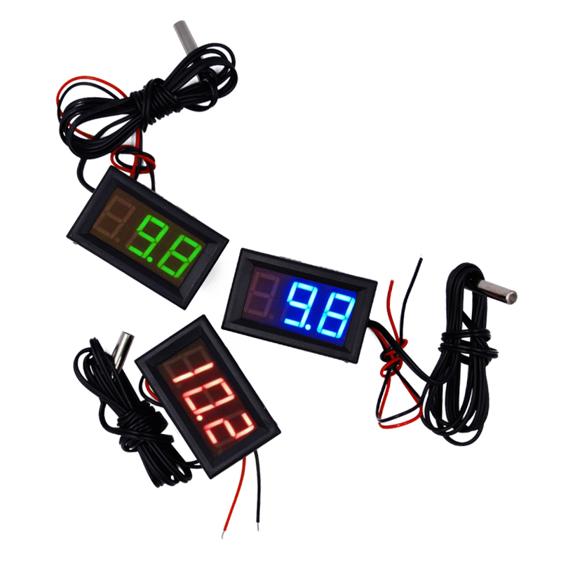 Portable LED Thermometer 12V Digital Thermometer Temp meter ensor Probe -50~100 Degree Temperature Detector tester 15% az 8891 digital wall mounted waterproof thermometer w long probe boiler water temperature meter tester