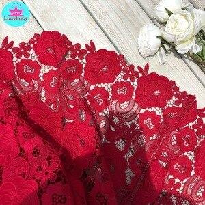 Image 5 - 2019 yaz yeni ağır iş dantel ajur retro kırmızı elbise bel elbise diz boyu tankı dantel kolsuz