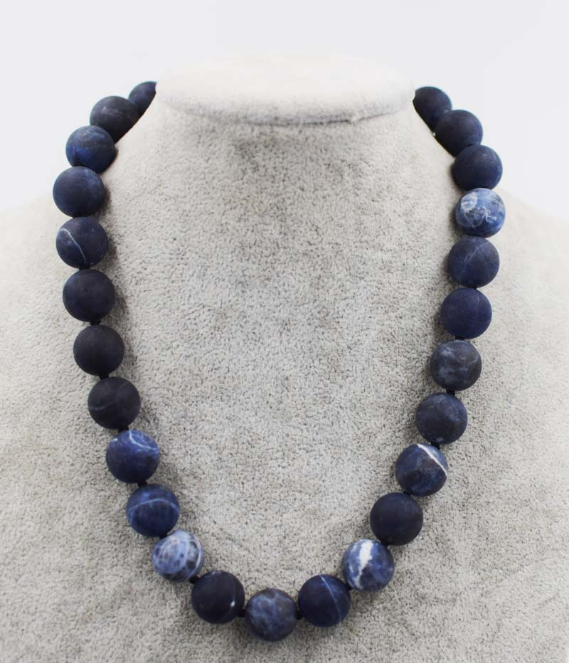 wow! sodalite blue agates stone 12mm 14mm blurry round necklace bracelet 18inch wholesale beads