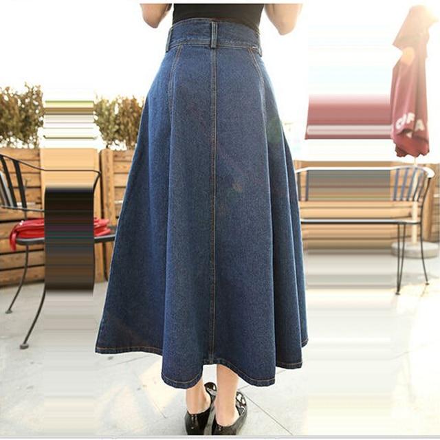 2018 Summer Autumn Women s Denim Long Skirts Plus Size Ladies Elastic High  Waist Maxi Jeans Skirts Girls Ruffles Casual Skirt 744979281e7c