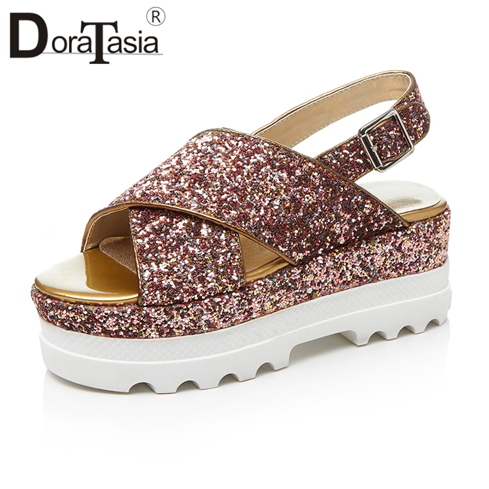 DORATASIA 2019 Summer Fashion High Quality Glitters Sandals Women Leather Lining Thick Platform Women Wedgse Shoes