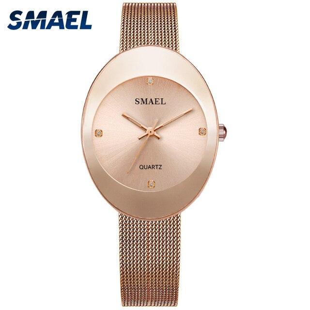 Smael novo relógio de quartzo inoxidável relógios femininos moda casual marca luxo senhoras relógio digital sl1880 mulher relógios à prova dwaterproof água