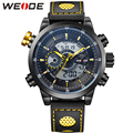 WEIDE Luxury Famous Brand Men's Leather Strap Watch Digital Quartz Dual Mov't Multi-Functional Waterproof Wrist Watches For Men
