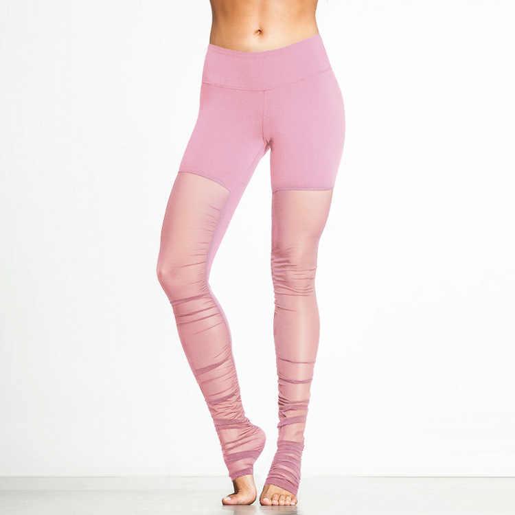 c278ff5aadc4e0 JIGERJOGER Women's Plus Size Pink Crystal Mesh Yoga Pants Panel See Through  Athletic Leggings high-