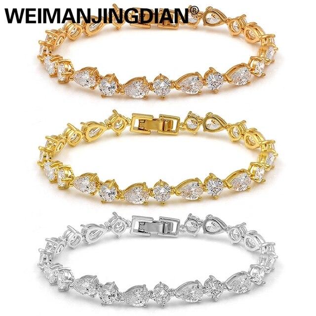 WEIMANJINGDIAN-Bracelets en zircon cubique, cristal CZ, bijoux de mariée et de mariage de haute qualité