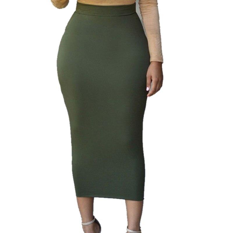 959ce663d Sexy mujer señora lápiz faldas 2019 primavera nueva llegada alta cintura  recta falda delgada estiramiento sólido Midi Falda larga literaria