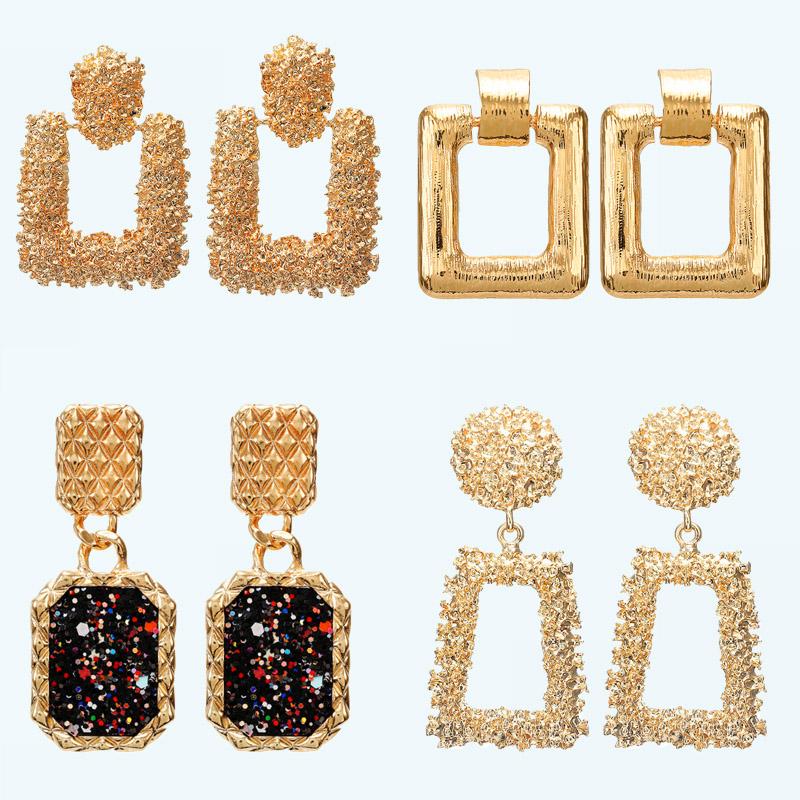 8d71765da 2019 Vintage earrings large for women statement earrings geometric golden  color metal pendant earrings trend fashion