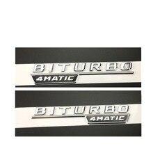 """Купить с кэшбэком Chrome """" BITURBO 4MATIC """" Plastic Car Trunk Fender Letters Badge Emblem Emblems Decal Sticker for Mercedes Benz AMG 2017"""