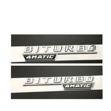 "Cromo ""BITURBO 4 MATIC"" coche de plástico Fender letras emblema etiqueta adhesiva para Mercedes Benz AMG 17-19"