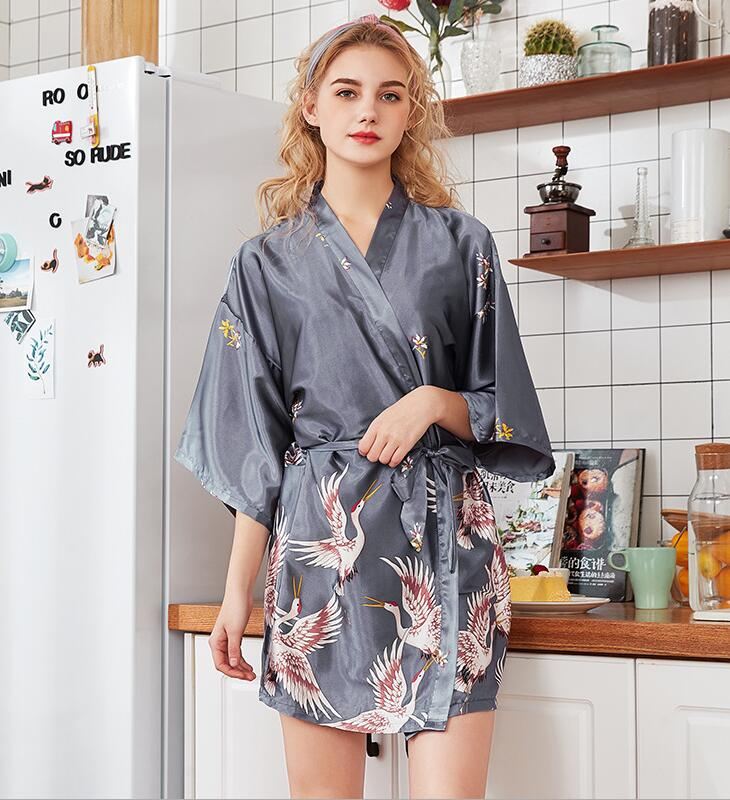 Women's Summer Mini Kimono Robe Lady Rayon Bath Gown Yukata Nightgown Sleepwear Sleepshirts Pijama Mujer Size M-XXL