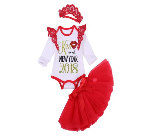2018 New Year Newborn Toddler Baby Girls Cotton Tops Romper Floral Skirt Outfits 3Pcs Set Clothes Costume Outfits 0-18M Hot Sale