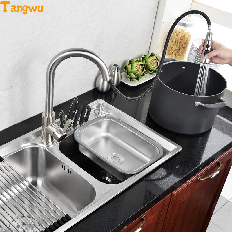 Tangwu Kitchen 304 Stainless Integral Forming Wire Drawing Wash Dish Basin Double Trough Upset Sink In Sinks From Home Improvement On