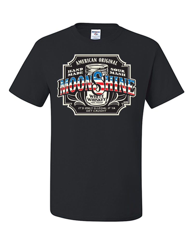 Moonshine Tennessee Whiskey Drinking T-Shirt American Original US Flag Tee Shirt Cool Casual pride t shirt men Unisex Fashion image