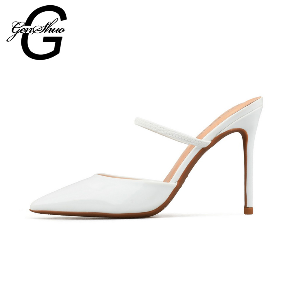 GENSHUO Women Mules High Heels Shoes Sexy Pumps Pointed Toe Pumps Mule Heeled Black Nude White Small Size 32 Big Size 44 45 46 summer bling thin heels pumps pointed toe fashion sexy high heels boots 2016 new big size 41 42 43 pumps 20161217