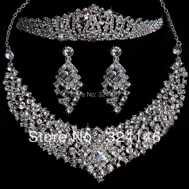 2016 Nova Moda Magnífico Cristal Bridal conjuntos de Jóias Charme Strass conjuntos de jóias de Casamento Para Mulheres Acessórios Para o cabelo