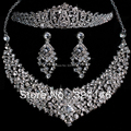 2016 Nueva Moda Magnífico Cristal sistemas de La Joyería Nupcial Con Encanto Rhinestone joyería de la Boda conjuntos Para Las Mujeres Accesorios Para el cabello