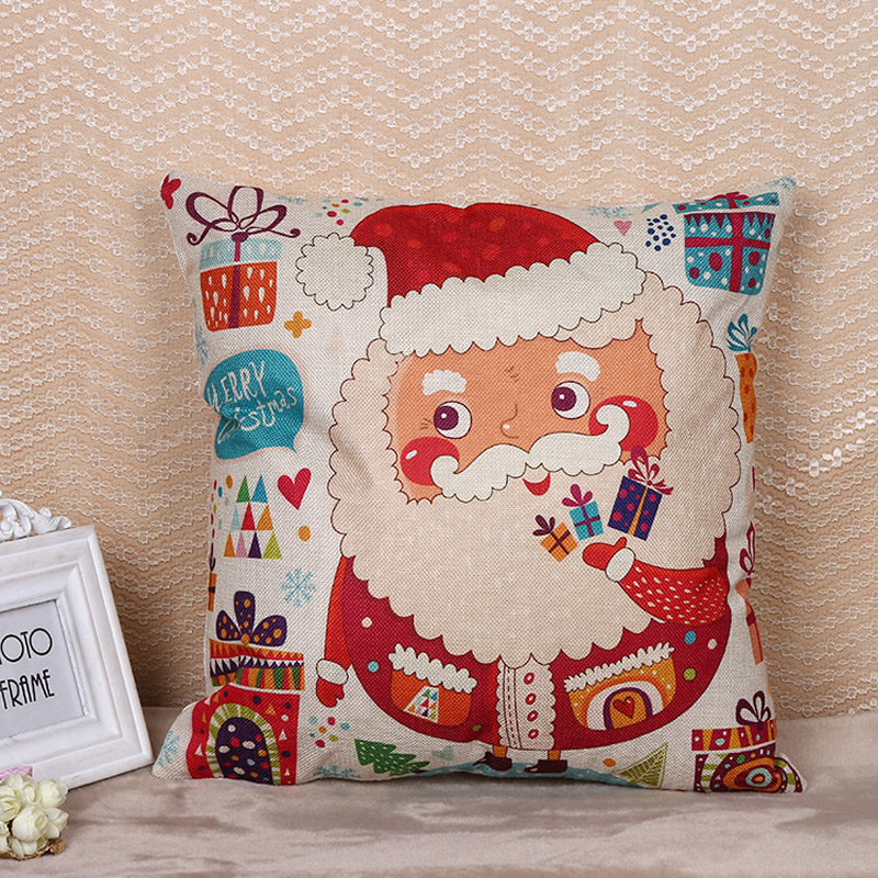 Creative Christmas Pillow Cover Santa Claus Cushion Cover For Sofa Bed Decorative Throw Pillow Case Home Textile 45x45cm F
