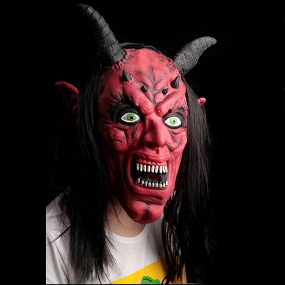 Red silicone latex horror Ox Horn devil head demon Face mask King ...