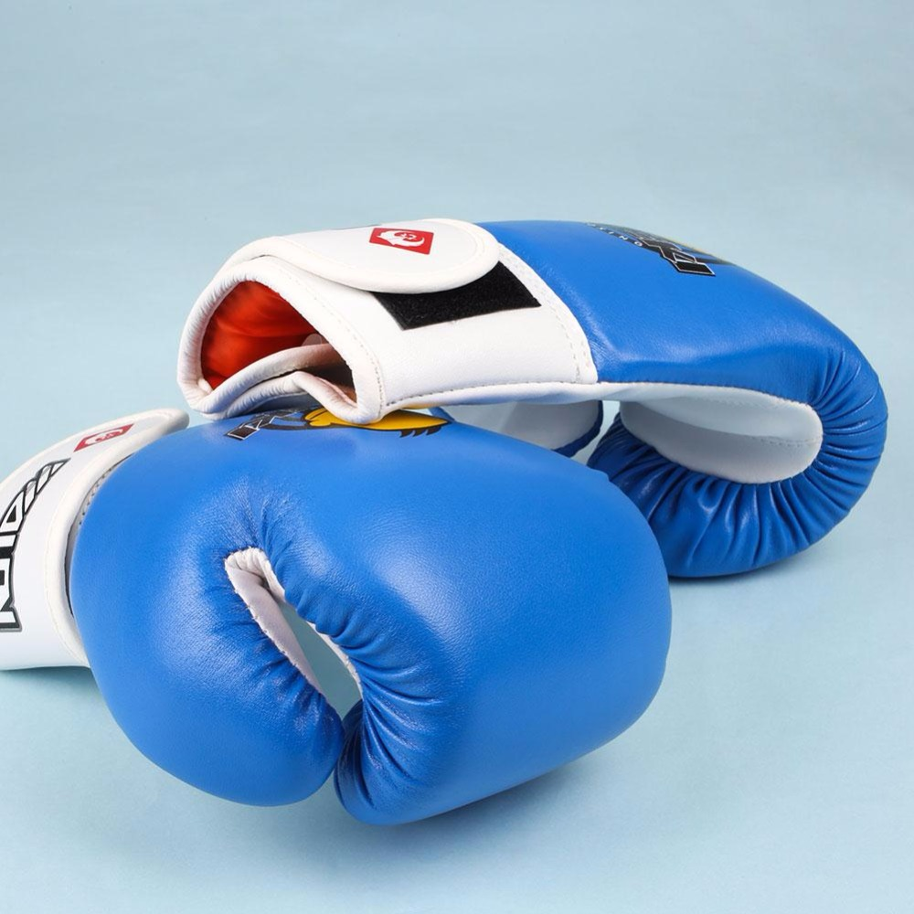 Childrens black leather gloves - 1pair Childrens Kids Cartoon Fight Boxing Sanda For Children Sports Training Fighting Competition Gloves Blue Boxing