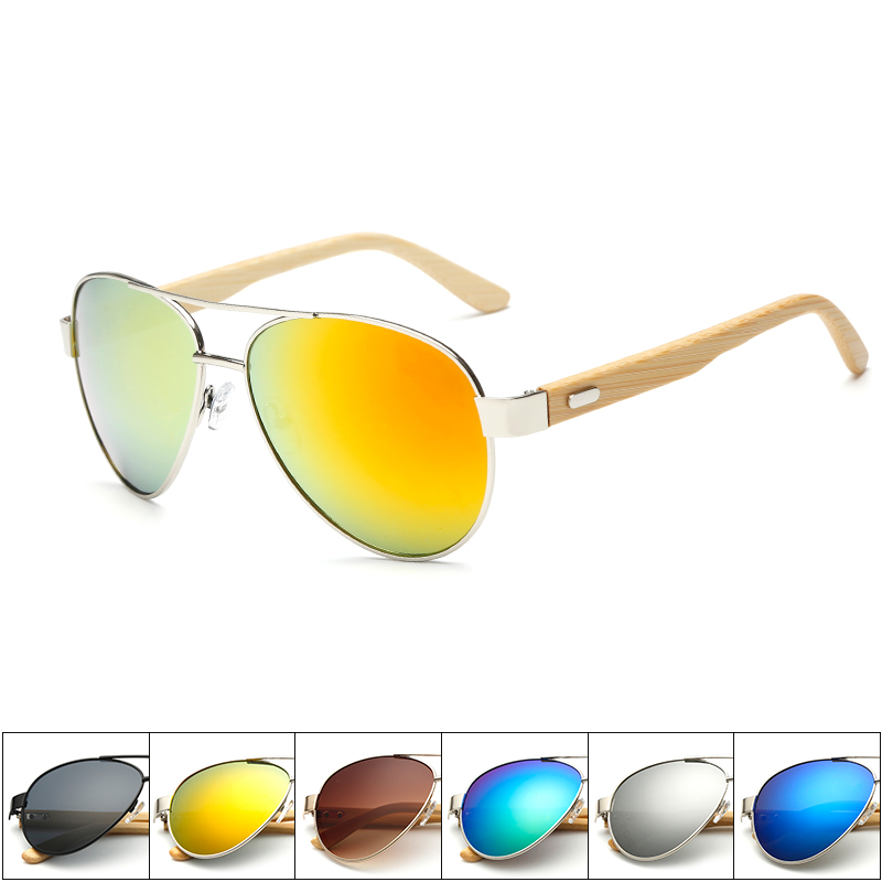 Summer new high quality handmade bamboo feet sunglasses natural bamboo legs women s metal glasses