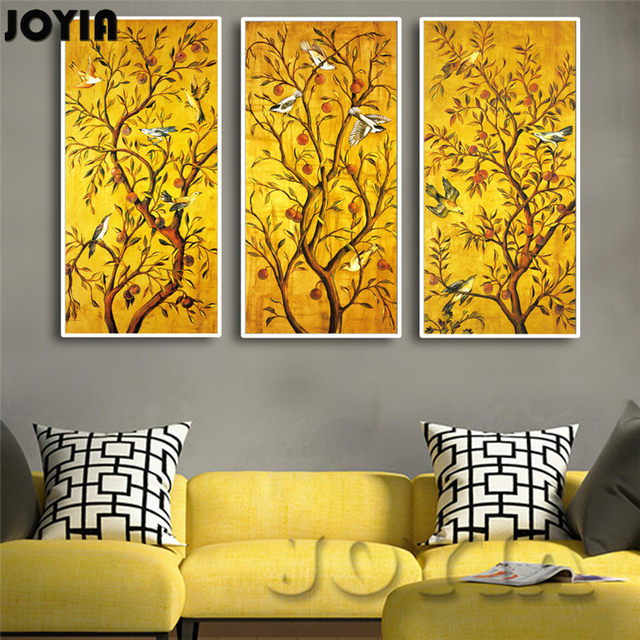 Online Shop 3 Piece/Set Golden Fruit Trees Birds Classical Wall Art ...