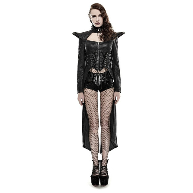 10a70004791c3 Punk Women s Trench Coats Domineering Queen Leather Coat Gothic Long  Outwear Spring Winter Wind Coats Outwear