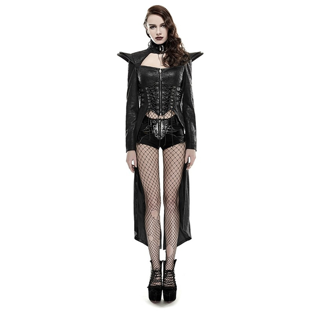 Punk Women's   Trench   Coats Domineering Queen Leather Coat Gothic Long Outwear Spring Winter Wind Coats Outwear