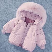 White Duck Down Coat Kids Boys Girls Winter Clothes Real Fox Raccon Fur Collar Hooded Jackets Russian Children's Warm Tops JF343