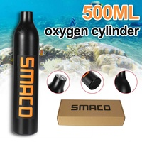 SMACO 2 Color 500ml Potable Diving Equipment Aviation Aluminum Mini Scuba Diving Cylinder Oxygen Cylinder Air Tanks without Head