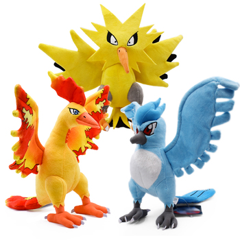 3 styles Anime Three God Birds Moltres Articuno Zapdos Stuffed Plush Cartoon Peluche Dolls Christmas Gift Baby Toys For Children