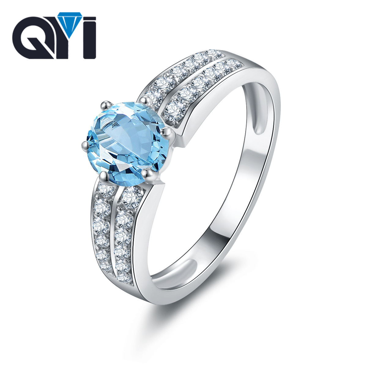 QYI Luxury 925 Sterling Silver Natural Sky Blue Topaz Engagement Ring Women Wedding Colored stones Jewelry CustomizationQYI Luxury 925 Sterling Silver Natural Sky Blue Topaz Engagement Ring Women Wedding Colored stones Jewelry Customization