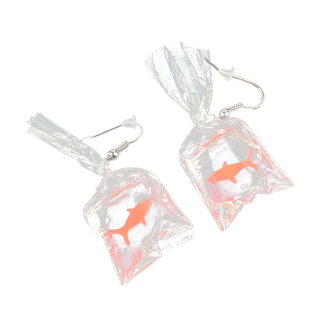 b20a3146caea3 Funny Cartoons Goldfish Water Bags Shape Dangle Earring Charm Resin  Earrings for women Christmas Delicate Gift dropship