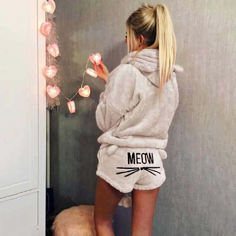 New Hot Women Winter Warm Pajamas Suit Plush Hoodie Cute Cartoon Cat Pattern Shorts YAA99