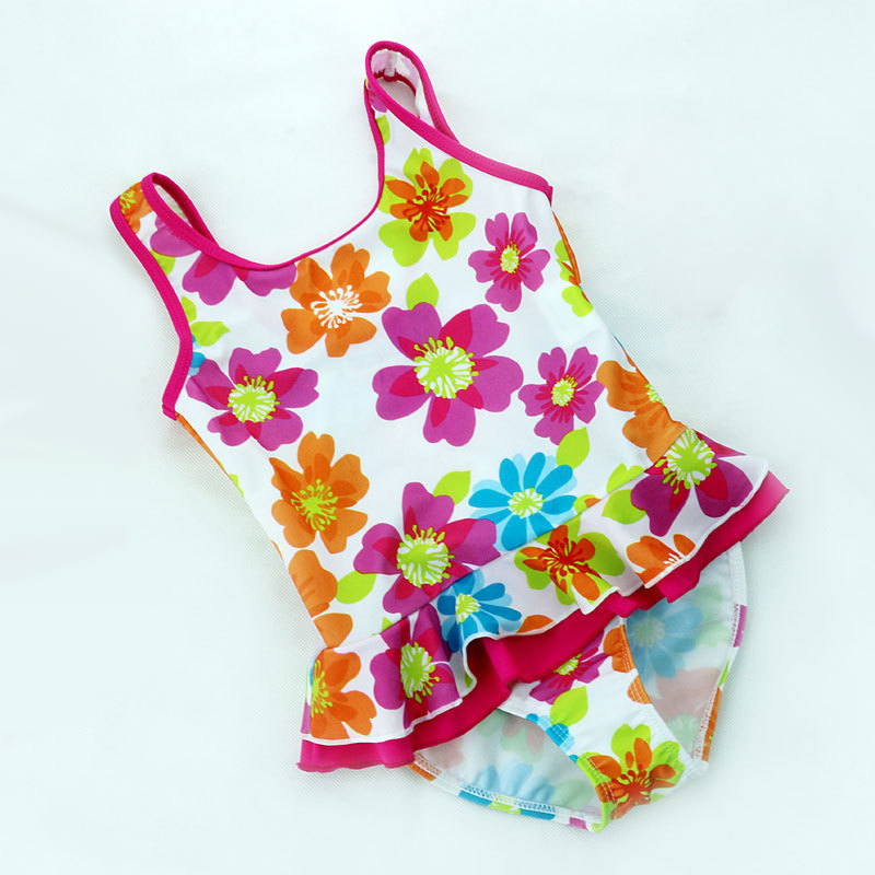 Baby Girls Swimwear One Pieces Style Fit 2-8 Y color Floral Pattern Kids Swimming wear Children Swimsuit Bathing suit sw0686 retail cute girls swimwear ariel one pieces swimsuit kids ruffled swimming suit for girl children bathing suit with cap