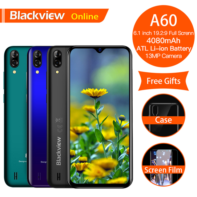 """Blackview A60 Original Smartphone 6.1"""" 19.2:9 Waterdrop HD Screen Cellphone 1GB+16GB Android 8.1 4080mAh 5MP+13MP Mobile Phone"""