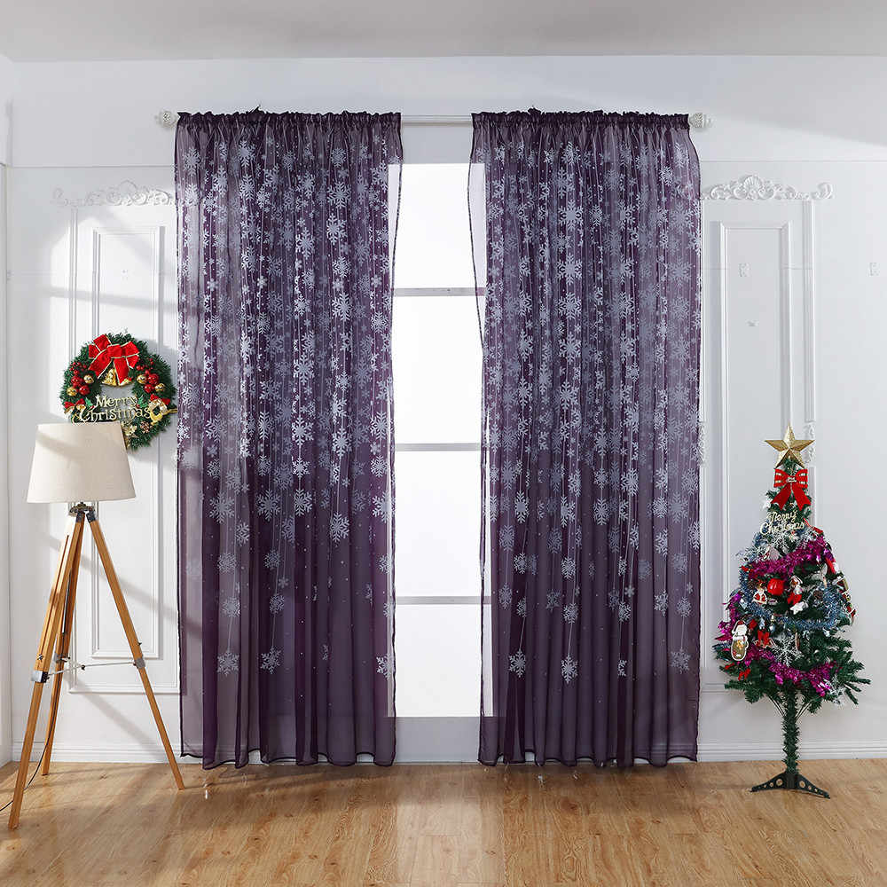 1PCS Christmas Snowflake Curtain Tulle Window Treatment Voile Drape Valance Drapes In Living Room Embroidered Curtains Hot Sales