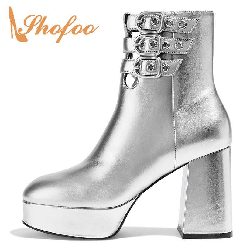 Silber Plattform Stiefeletten Vegan Patent Frau Hohe Chunky Ferse Schnalle Strappy Winter Schuhe Runde Kappe Große Größe 14 15 16 Shofoo