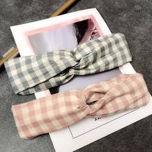 Korean Women Hair Accessories Headwear Fabric Headband Simple Sweet Bandanas Lady Plaid Band