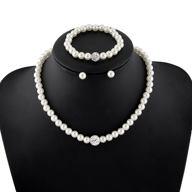 Elegant Simulated Pearl Jewelry Set Silver Color Necklace Earrings Bracelet Wedding Sets For