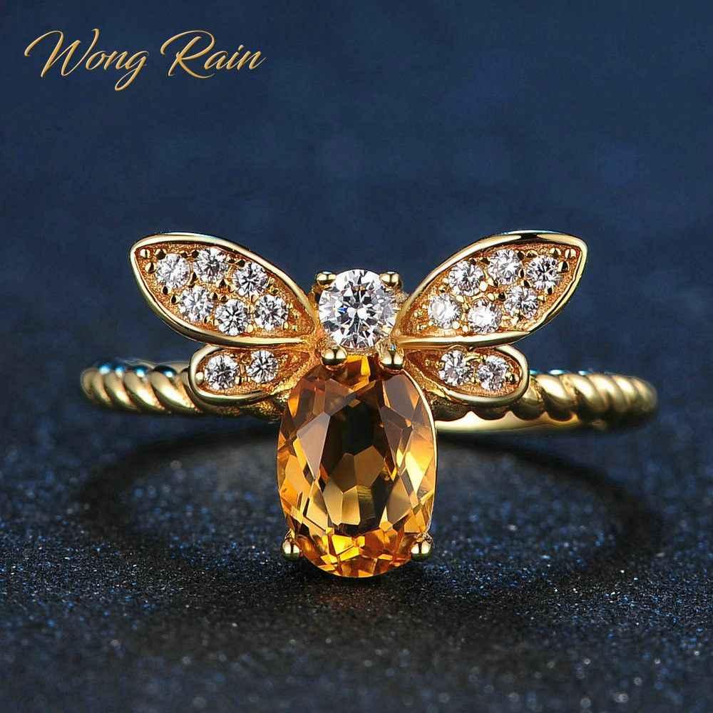 Wong ฝน Vintage 100% 925 เงินสเตอร์ลิง 1 CT อัญมณี Citrine ธรรมชาติสีเหลืองทอง Bee แหวนเครื่องประดับขายส่ง Drop Shipping
