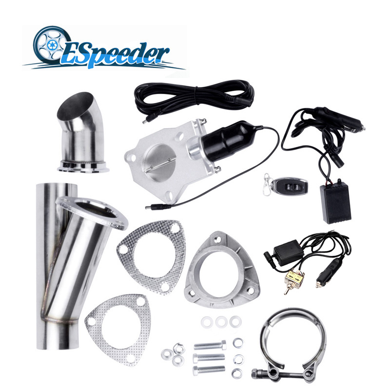 ESPEEDER 2 25 Exhaust Cutout Catback Down Pipe Kit Stainless Steel Electric Control Valve Kit With