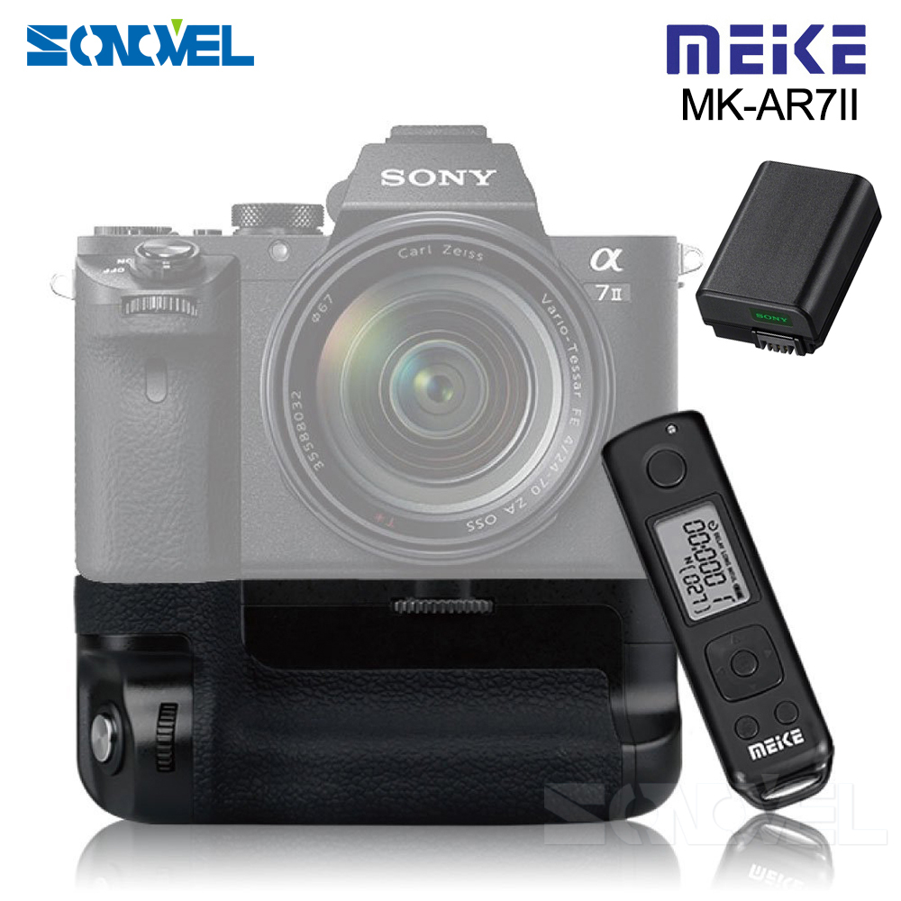Meike MK-A7II Pro Wireless Remote Control Battery Grip Holder With NP-FW50 Battery for Sony A7 II A7SII A7MII A7RII As VG-C2EM meike mk ar7 built in 2 4g wireless control battery grip for sony a7 a7r a7s