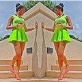 Neon Платье Зеленый Новое Прибытие Женщина Мода 2015 Bodycon Платья Вечерние Элегантные Дамы Летние Платья Бесплатная Доставка