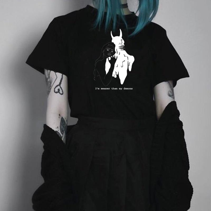 Kuakuayu HJN Women I'm Meaner Than My Demons T-Shirt Tumblr Fashion Grunge Style Tee Satanic Shirt Gothic Clothing