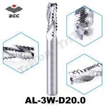 Zccct AL-3W-D20.0 сплошной карбид 3 флейта гофроупаковка edge концевая фреза 20 мм для грубая механическая обработка алюминиевый сплав