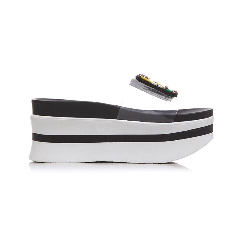 Lapolaka nouvelle mode taille 34-39 bout ouvert plate-forme chaussures d'été pantoufle femme offre spéciale livraison directe de haute qualité pantoufle femme chaussures - 4