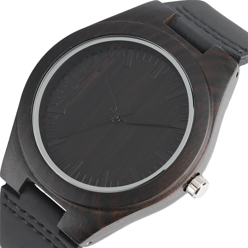 Sort Natural Ebony Wooden Watch Mænds Ægte Læder Creative - Mænds ure - Foto 1