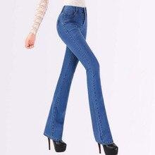 Новая Мода Женщины джинсовый Тонкий Загрузки Вырезать Джинсы женские flare брюки брюки плюс размер T596