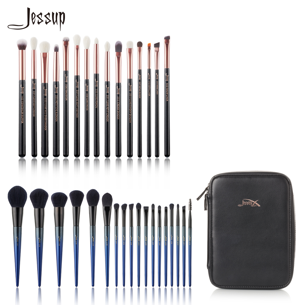 Jessup brushes Professional Makeup brushes set & 1PC Cosmetic bag women Make up brush Powder Foundation Pencil eyeshadow 24 pcs makeup brushes set foundation powder eyeshadow brush 1pc cosmetic puff black bag make up comestic tool kit