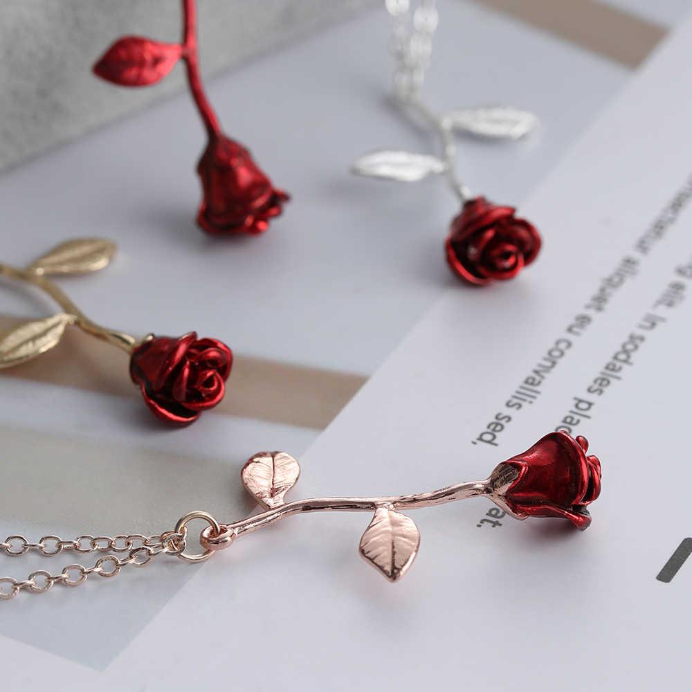 Bijoux rouge Rose fleur déclaration collier femmes tour de cou Rose or couleur fleur pendentif collier Boho charme Bijoux beaux cadeaux